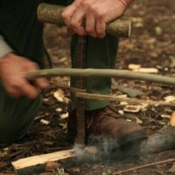 using nettle cordage & a bow saw to start a fire