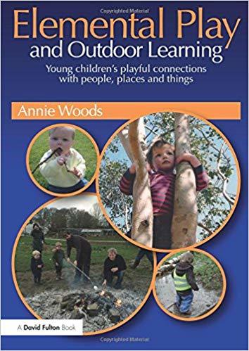 Book cover: Elemental Play & Outdoor Learning, with 4 photos of children playing outdoors
