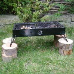 double firebox on raised logs