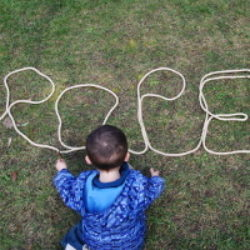 rope writing on grass