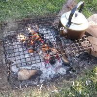 cooking potatoes in the embers