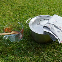 glass jug and wooden spoon large pan