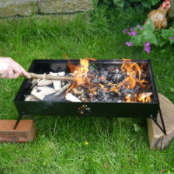 poking embers in double fire box