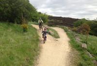 mum and child mountain biking