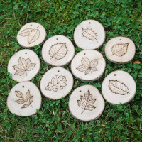 leaf shapes on wooden discs