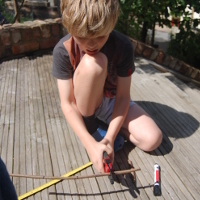 child using secateurs