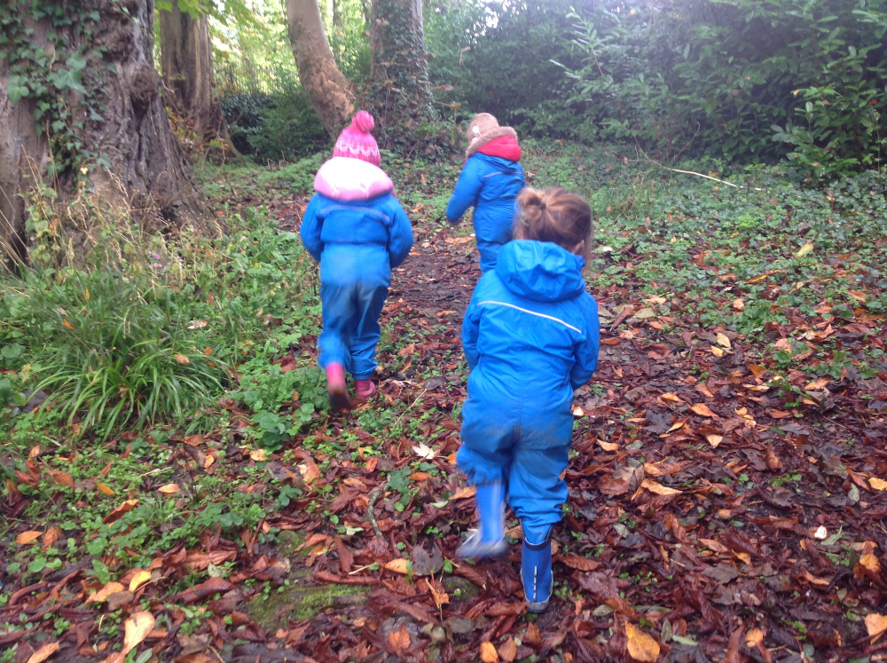 3 small children in blue wellies and waterproof suits running away into a woodland with autumn leaves on the ground