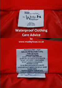 the tag of a red school shirt with text: waterproof clothing care advice