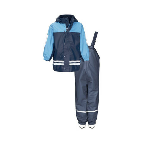 Playshoes Rainwear Fleece Lined Rainsuit with Dungarees