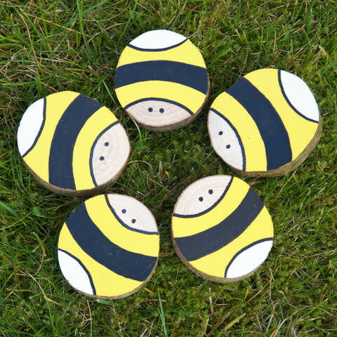 Hand Painted Bees - Set of 5