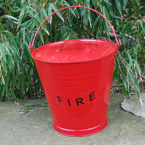 Metal Fire Bucket with Lid