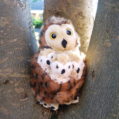 Tawny Owl and 3 Baby Hand Puppets